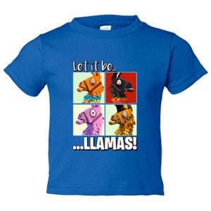 Camiseta niño Let It Be Llamas - Azul Royal, 12-14 años