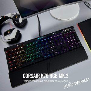 Corsair K70 RGB MK.2 - Teclado mecánico Gaming, retroiluminación LED RGB, Rojo