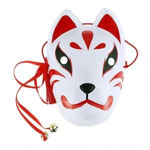 Máscara Completa Fox Drift Mask 3D Printed Máscara con Borlas Campanas Hecha a Mano Disfraces Accesorios Halloween Cosplay Festival Fiesta Show Unisex