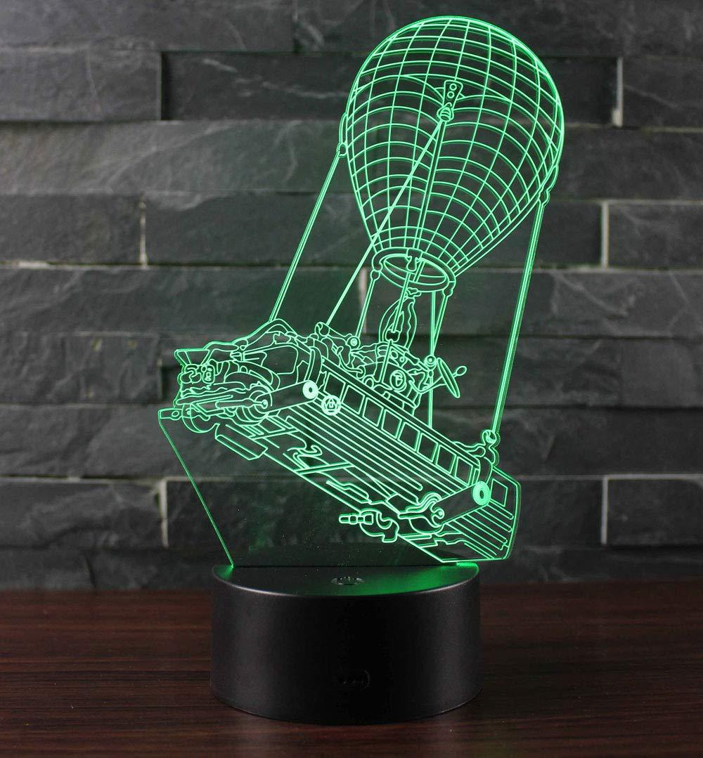 Win-Y 3D Lámpara de Escritorio, Y LED 7 del tacto del color de la lámpara del dormitorio y regalo de Navidad de cumpleaños (Fire Balloon Boat) [Clase de eficiencia energética A